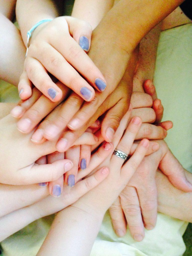 stack of hands